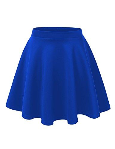 Blue Solid Skirt (Women's Basic Solid Swing Mini Skater Skirt (Large, Royal Blue))