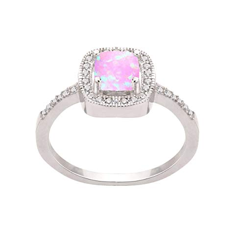 CloseoutWarehouse Pink Simulated Opal Princess Halo Ring Sterling Silver Size 8
