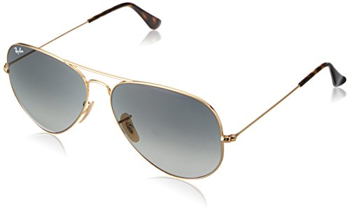 Ray-Ban 3025 Aviator Large Metal Non-Mirrored Non-Polarized Sunglasses, Gold/Light Grey Gradient Dark Grey (181/71), - Ray 3025 Ban Sunglasses Aviator
