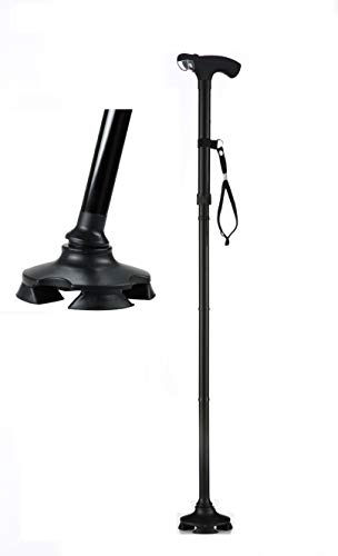 Assistive Technology Services Best Short Walking Cane - Adjusts from 26-32 Inches Tall - Self Standing Cane with Light and 4 Feet in USA