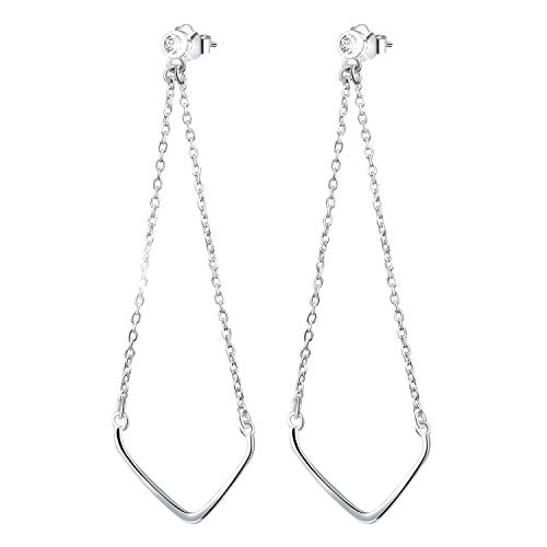 Esberry 18K Gold Plating 925 Sterling Silver CZ Inverted Triangle Chain Dangle Earrings Cubic Zirconia Drop Earrings Jewelry for Women and Girls (White Gold)