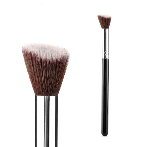 Set Makeup Brush Kabuki Flat Foundation Powder Cosmetic Brush Bag (Color - Black Small 1 -