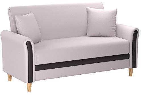Divano Roma Furniture EXP103-2S-BG Modern 2 Tone Small Space Linen Fabric Loveseat (Beige)