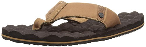 Volcom Men's Recliner Leather Flip Flop Sandal Brown Combo NUcRa