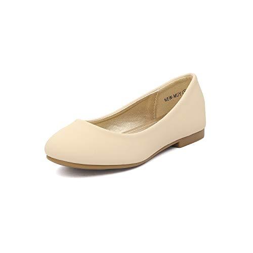 DREAM PAIRS Little Kid Muy Nude Nubuck Girl's Mary Jane Ballerina Flat Shoes - 1 M US Little Kid ()