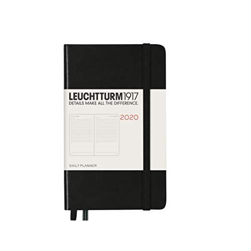 LEUCHTTURM1917 360034 Agenda día página tapas duras Pocket (A6) 2020, negro, en inglés