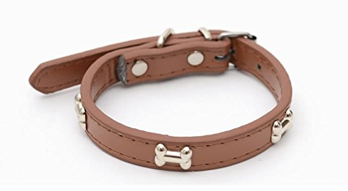 LOVELY Leather Pet Dog Collars Bone Pet Puppy Cat Basic Collars Fashion Necklace Dog-Collar Lead For Small Dogs Pet Products Brown M by LOVELY (Image #1)