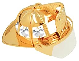 24k Gold Plated Firefighter Helmet Free Standing - Clear - Swarovski Crystal
