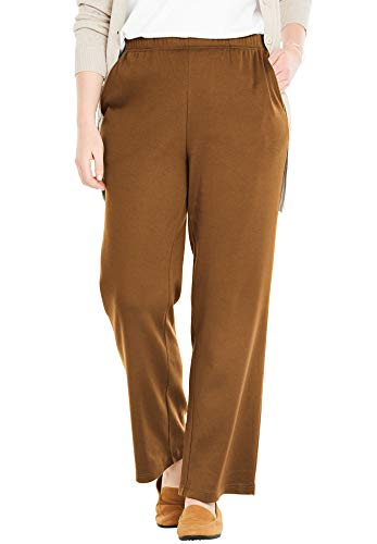 (Woman Within Women's Plus Size Tall 7-Day Knit Wide Leg Pant - Soft Brown, 1X)