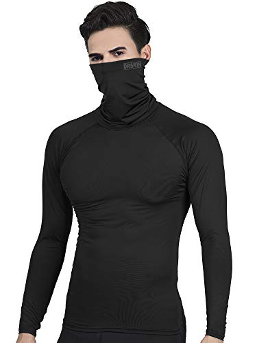 DRSKIN Turtleneck Compression Top Thermal Cool Dry Sports Shirt Baselayer Running Long Sleeve Men (Turtleneck SB01, L)