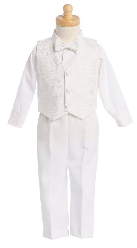 White Boys Embroidered Jacquard Christening Baptism or Wedding Vest Set - Size 2T