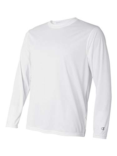 Champion Men's Long Sleeve Double Dry Performance T-Shirt, White, Medium