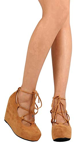 DBDK Women's High Platform Ghillie Ankle Strappy Round Closed Toe Wrapped Wedge (7 B(M) US, Camel)