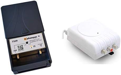 Kit Amplificador de mástil UHF 35dB LTE 5G + Fuente de Alimentación