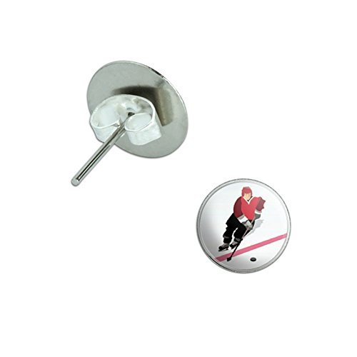Ice Hockey Player Red Jersey Novelty Silver Plated Stud (Ice Hockey Player Costumes)
