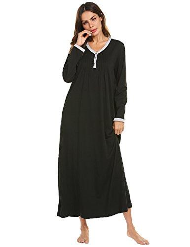 Ekouaer Womens Cotton Knit Long Sleeve Nightgown for Women, Henley Full Length Sleep Dress,Black,Small