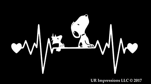 (UR Impressions Snoopy and Woodstock Heartbeat Decal Vinyl Sticker Graphics for Car Truck SUV Van Wall Window Laptop|White|7.5 x 4)