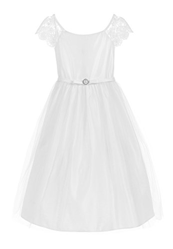 Sweet Kids Lace Sleeve with Tulle Vintage Flower Girl Dress, 8, ()
