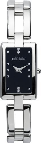 Michel Herbelin Women's Quartz Watch with Black Dial Analogue Display and Silver Stainless Steel Bracelet 17466/B54