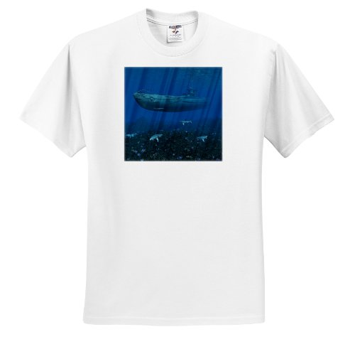 3dRose Simone Gatterwe Designs Vehicles - German uboat submarine in shallow waters with shark - T-Shirts - Adult T-Shirt XL (ts_172908_4)