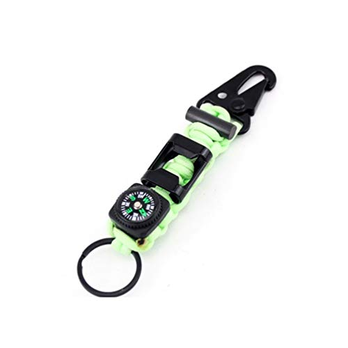SUPWALL Outdoor Survival Kits, Multifunction Professional Carabiner with Bottle Opener Compass Key Ring etc. for Camping Mountaineering Cycling Hiking - Luminous Color
