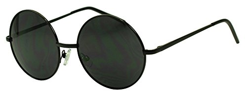 Small 45mm Round 60s John Lennon Circle Metal Frame Sunglasses (Black, Black) (1960s Hippie Fashion)