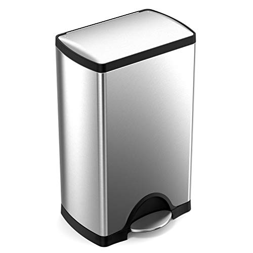 simplehuman 38 Liter / 10 Gallon Stainless Steel Rectangular Kitchen Step Trash Can, Brushed Stainless Steel