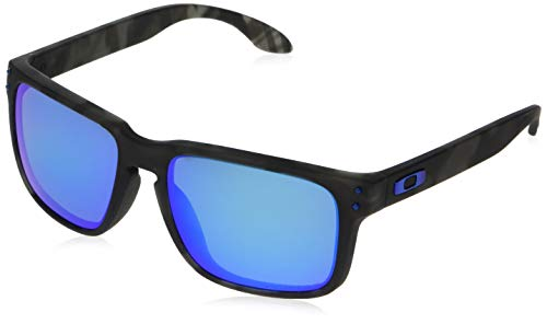 Oakley Men's OO9244 Holbrook Asian Fit Rectangular Sunglasses, Matte Black Tortoise/Prizm Sapphire Polarized, 56 ()