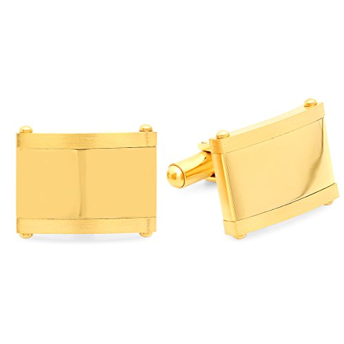 18k Square Cufflinks (Men's 18K Gold Plated Stainless steel square classic cufflinks)
