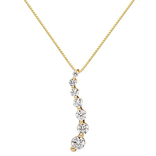 - 14K Solid Yellow Gold Pendant Necklace | Round Cut Cubic Zirconia