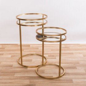 DOWNTON INTERIORS Contemporary Style Gold Gilt Leaf Round Metal Glass Set of Two Nesting Tables Occasional Side End Table (TCMT041-GO) ** Full Range of Gin Shu Tables are Available **