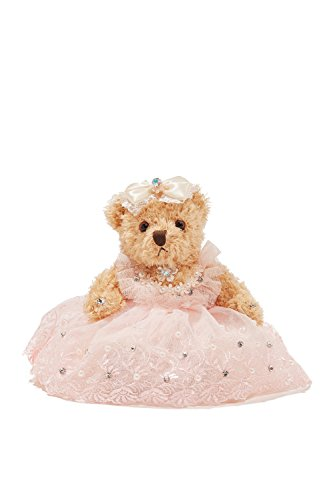 "Bride Teddy Bear in Pink Dress Wedding Stuffed Animal Soft Sitting Plush Toys 6"" (light brown, pale pink)"