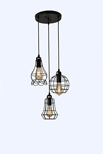 Industrial 3-Light Pendant Lighting, Adjustable Hanging Light Fixtures, Vintage Farmhouse Pendant Light with Metal Caged…
