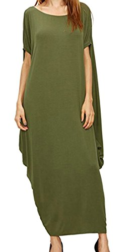 Pleated Dress Womens Loose Long Sleeve Round Domple Neck Green Short gtppwC