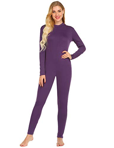 Ekouaer Ladies One Piece Pajama Lightweight Thermal Underwear Jumpsuit Black Purple Cotton Pjs Union Suits Women S M L XL XXL