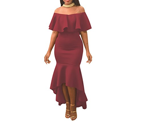 Women' Sexy Off Shoulder Ruffle Party Mermaid Elegant Midi Long Dress (Large, Wine Red)