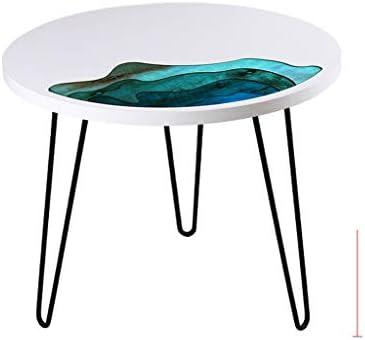 Nieuwe Stijlen Ay yu Bijzettafel, nachtkastje, sofa-salontafel, woonkamer geschikt voor woonkamer en slaapkamer, kleine tafel, sofa-tafel, kerraam 600 * 600 * 550 wit  c8xvlom