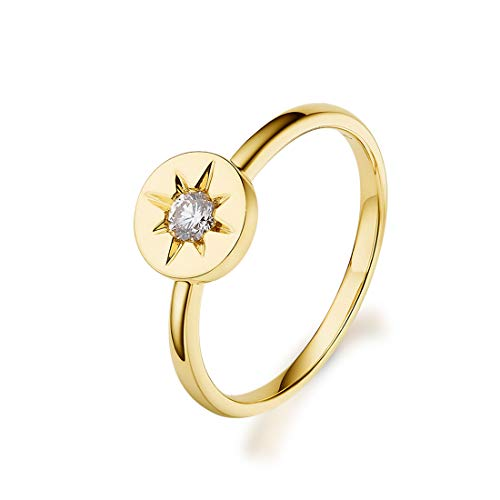 Carleen 18k Solid Yellow Gold 0.1ct Round Diamond Circle Star Promise Band Ring For Women Girls