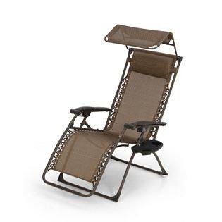 Swell Outdoor Multi Position Recliner Chair With Canopy Drinks Holder Brown Garden Sun Lounger Inzonedesignstudio Interior Chair Design Inzonedesignstudiocom