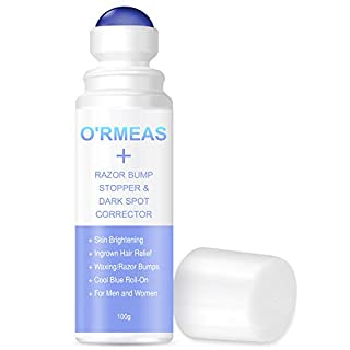 O'RMEAS Razor Bump Stopper- Solution after Waxing and Shaving for Ingrown Hairs and Razor Burns, Dark Spot Corrector Skin Lightening, Roll-On Formula for Men and Women -100g