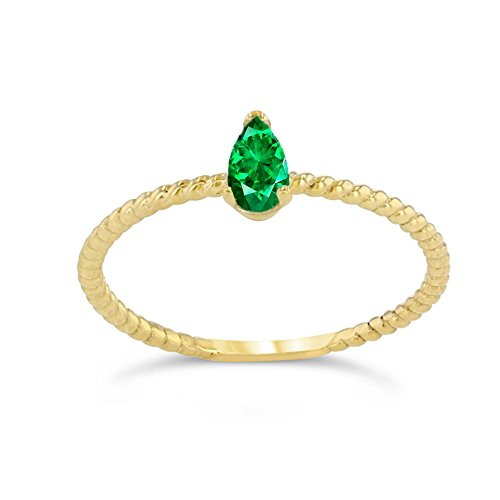 Dainty 10k Yellow Gold Solitaire Emerald Pear-Shaped Modern Engagement Rope Ring (Size 9) (Emerald Solitaire)