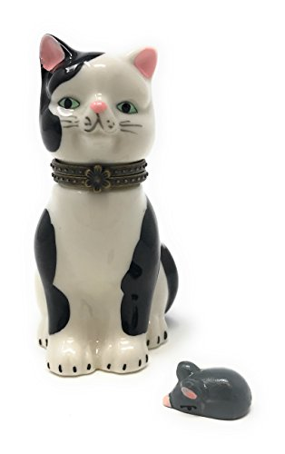Black & White Kitty Cat Porcelain Trinket Box with Tiny Trinket Inside, by Art Gifts, (Kitty Trinket Box)