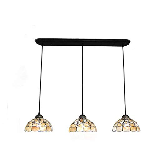 8-Inch Tiffany Style Chandeliers, Creative Pearl Flower Natural Shell Pendant Lamp Shade 3-Head 3-Light Ceiling Pendant Lights Fixture for Restaurant Bar