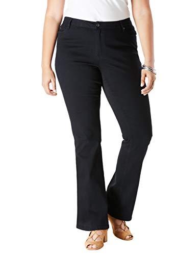 (Roamans Women's Plus Size Bootcut Jean with Invisible Stretch - Black Denim, 22 W)
