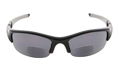 Eyekepper TR90 Unbreakable Sports Polycarbonate Half-Rimless Polarized Bifocal Sunglasses Baseball Running Fishing Driving Golf Softball Hiking Reading Glasses Black Frame Grey Lens - Lens Frame Black Grey 3