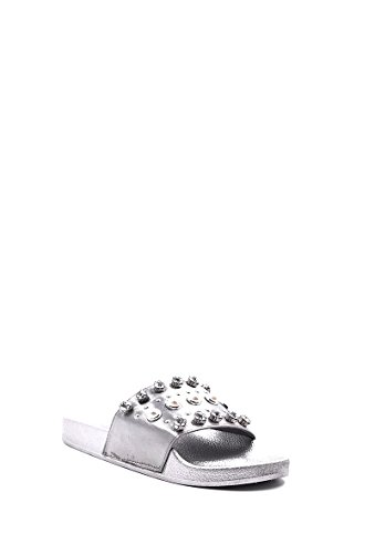 Claquettes Femme Sandales Diamant Slip Strass on synthétique NANA Argent Satin CHIC Mules EYwXRR