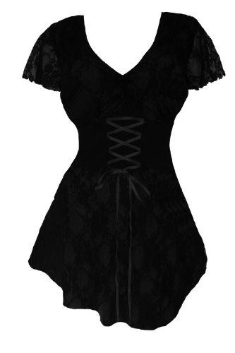 Dare to Wear Victorian Gothic Boho Women's Plus Size Sweetheart Corset Top Black 1X -