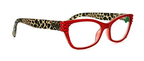 The Panthera, Cat Eye Bling Women Reading Glasses Adorned with Hematite Swarovski Crystals +1.25 +1.50 +1.75 +2.00 +2.25 +2.50 +2.75 +3.00 Red + Leopard ()