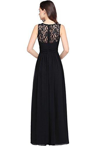 Dress Bridesmaid Fit Black Babyonlinedress Chiffon Slim Sleeveless Lace Long OWPpq