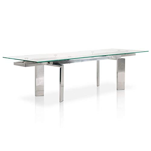 MAKLAINE Glass Top Extendable Dining Table in Silver (Table Top Dining Room Extendable Glass)